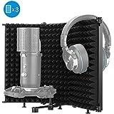 Moukey - Filtro de aislamiento para micrófono, plegable, con espuma absorbente de sonido de micrófono de 3/8 y 5/8 de montaje roscado para filtro vocal, adecuado para Blue Yeti Podcasts, grabación de estudio, canto