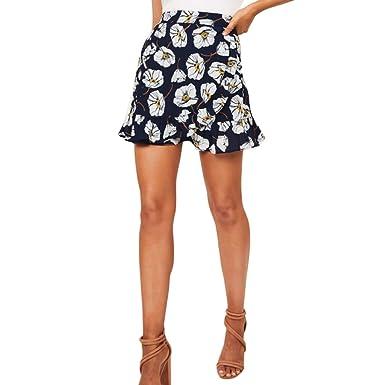 Mini Faldas Mujer Verano Cortas Moda Sexy Volantes Estampado ...