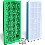 Vremi Silicone Ice Cube Tray with Lid - 2 Piece Set of Blue and Green Ice Cube Trays - 21 Small Cubes per Tray, 42 Ice Cubes Total - Non Toxic Food Grade and BPA Free