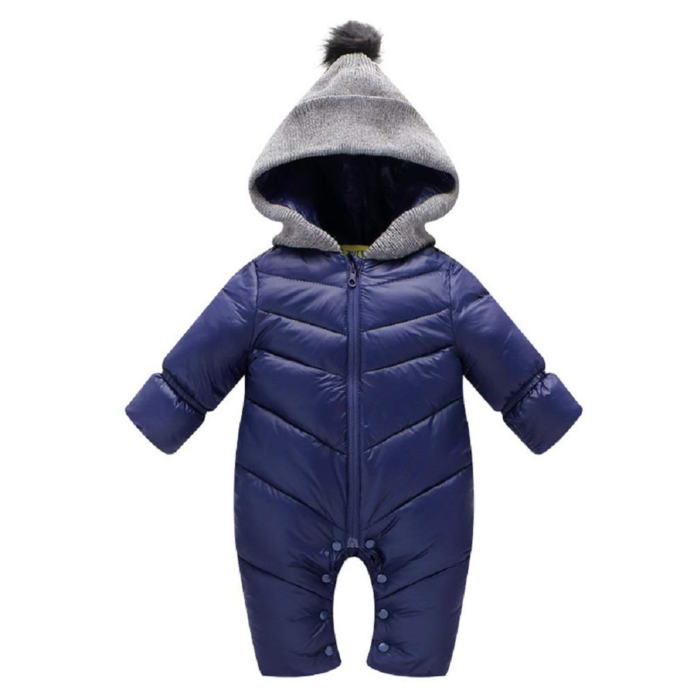 Infant Unisex Baby Hood Puffer Jacket Jumpsuit Winter Quilted Warm Snowsuit Romper Outwear
