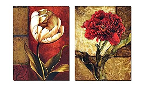 Smoosky 2PC Flower Painting on Canvas for Home/wall Decoration
