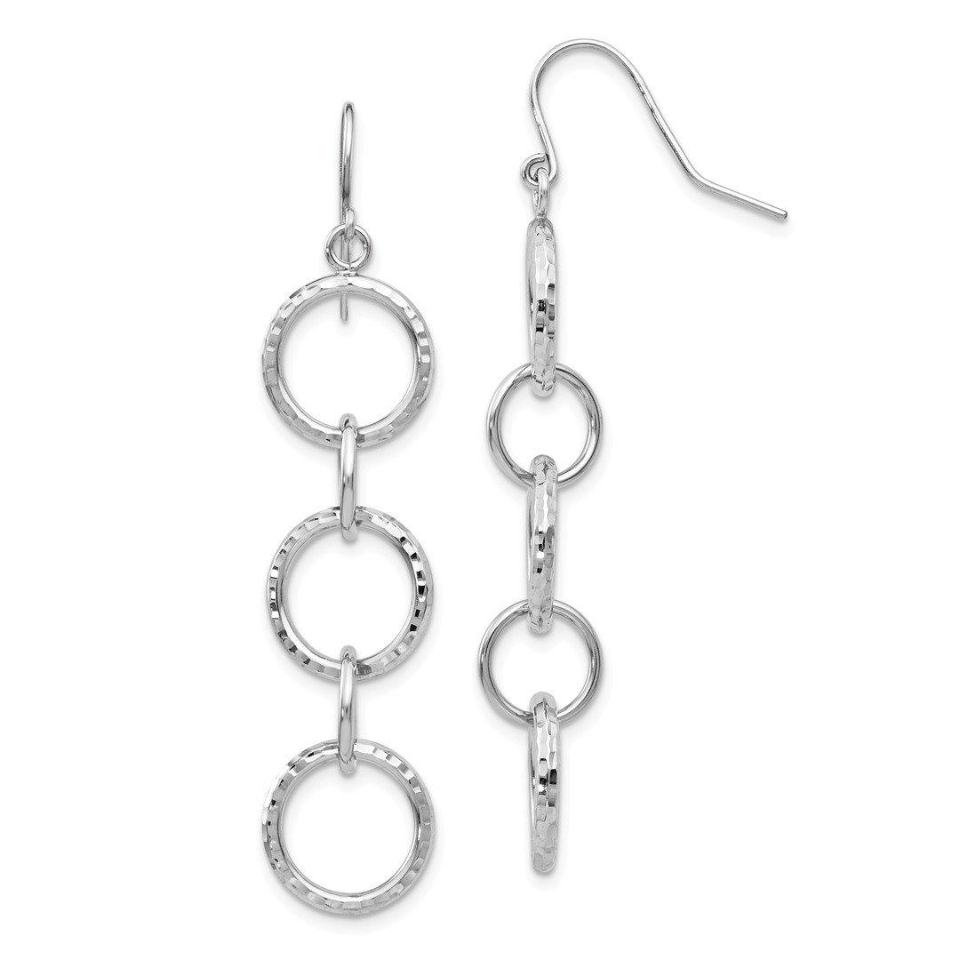 ICE CARATS 14k White Gold Circle Drop Dangle Chandelier Earrings Fine Jewelry Gift Set For Women Heart