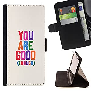- You Are Good Enough/ Personalizada del estilo del dise???¡Ào de la PU Caso de encargo del cuero del tir????n del soporte d - Cao - For Samsung Galaxy S6 EDGE