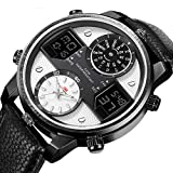 digital analog - Men's Multifunctional Digital Analog Quartz Watch Business Waterproof Military Leather Band Sport Wrist Watches