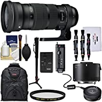 Sigma 120-300mm f/2.8 Sports DG APO OS HSM Zoom Lens with TC-2001 2x Teleconverter + USB Dock + Backpack + Monopod + Kit for Canon EOS DSLR Cameras