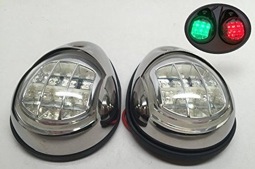 MARINE BOAT SS304 GREEN STARBOARD RED PORT LED NAVIGATION LIGHT SIDE (Deck Mount Side Light)