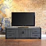 WE Furniture 70'' Industrial Wood TV Stand Console, Charcoal