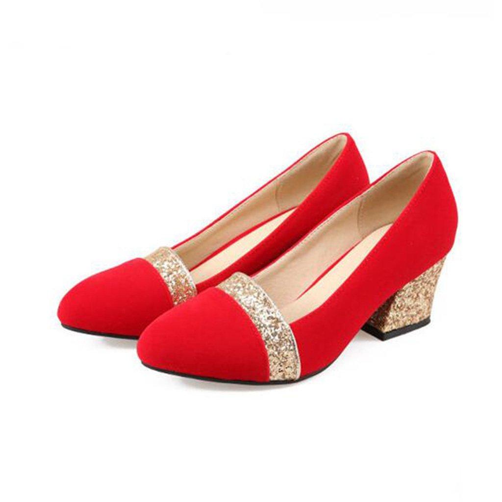 Einzelne Schuhe Rot Gold Gold Gold Silber PU Gummisohle Flacher Mund Dicker Mittlerer Absatz Damenschuhe Brauthochzeitsschuhe Brautjungfer Schuhe 1ab711