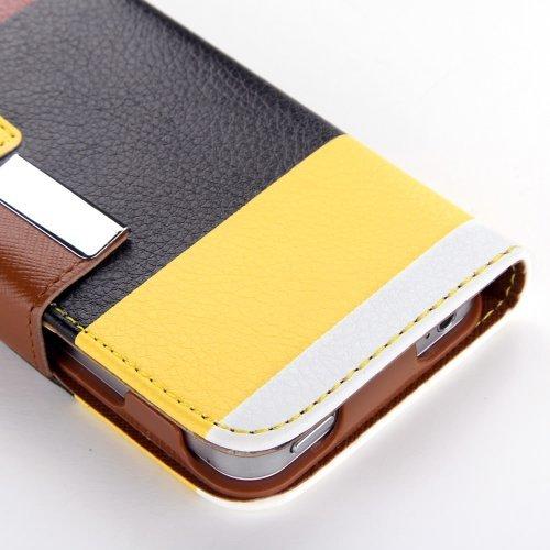 SODIAL (R) Premium-Multifunktions Malerei Serie Brieftasche Ledertasche Cover & Kreditkarteninhaber und-Standplatz-und Lanyard fuer iPhone 4 4S - Multicolor (Gelb + Schwarz + Braun)