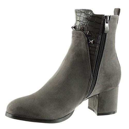 8e67ebcc0 Angkorly - Zapatillas de Moda Botines chelsea boots cavalier mujer piel de  serpiente tachonado Talón Tacón