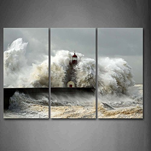 Lighthouse In The Waves Of The Sea Wall Art Painting The Picture Print On