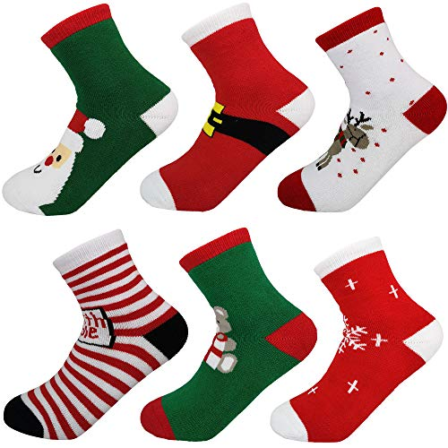 Dongua Pack OF 6 Packs Chrismas Kid Socks Snowflake Santa Claus Bear Elk Stripe and Belt (7-10 Years)