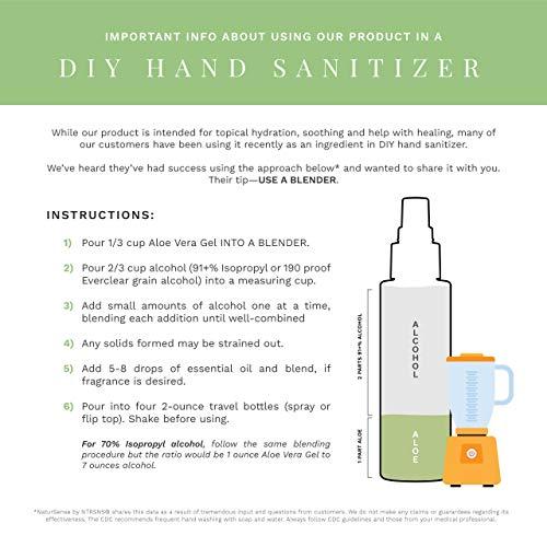 NaturSense Organic Aloe Vera Gel Great for Face, Hair, Sunburn Relief, Acne, Razor Bumps, Psoriasis, Eczema, Dry Skin Hydration - 12 oz.