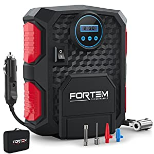 Digital Tire Inflator for Car W/Pressure Gauge - Portable Air Compressor - Electric Auto Pump | Easy To Store - Auto Shut OFF - By FORTEM - 12V DC - 3 Attachments – BONUS Carrying Case