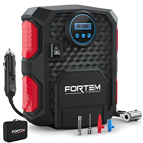 Digital Tire Inflator for Car W/Pressure Gauge - Portable Air Compressor - Electric Auto Pump | Easy to Store - Auto Shut Off - by FORTEM - 12V DC - 3 Attachments - Bonus Carrying Case (Pump Air With Gauge)