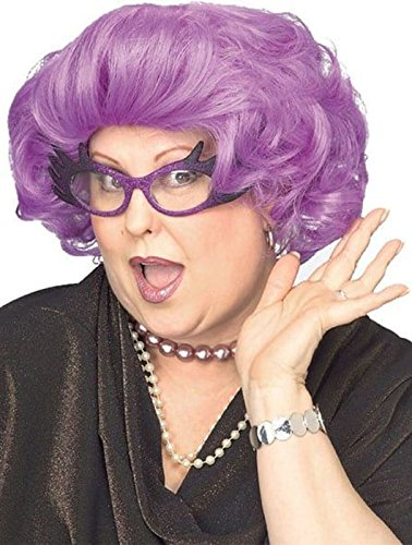 Rubie's Costume The Dame Short Purple Curly Costume Wig Adult One Size ()