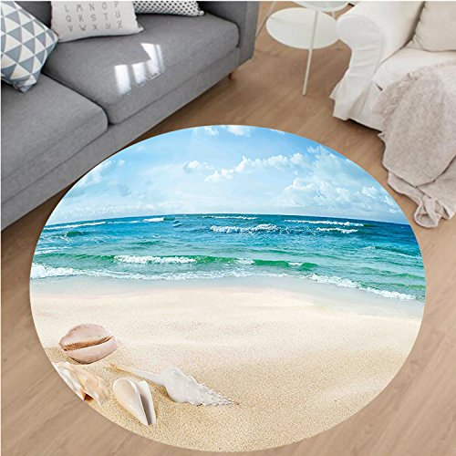 Nalahome Modern Flannel Microfiber Non-Slip Machine Washable Round Area Rug-cor Beach Sand Waves Sealife Marine Decor with Shels Hot Summer Sun Print Teal Blue Cream area rugs Home Decor-Round - Shel Sea