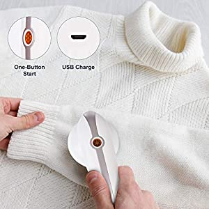 Lint Remover, Electric Rechargeable Fabric Shaver with Dustbin and 4 Replaceable Blades, Portable Clothes Shaver, Sweater Shaver and Lint Shaver for Couch, Blanket, Curtain, Socks, Wool, Cashmere (Tamaño: 1 Count (Pack of 1))