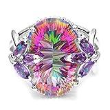 Keepfit_Rings Wedding Rings, Keepfit Women's Rainbow Stone Engagement Band Ring