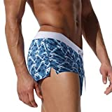 NUWFOR Fashion Men Breathable Trunks Pants Beach Print Running Swimming Underwear(Blue,US S Waist:28-31'')