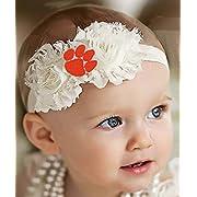 Future Tailgater Clemson Tigers Baby/Toddler Shabby Flower Hair Bow Headband (Newborn - 3 months/13)