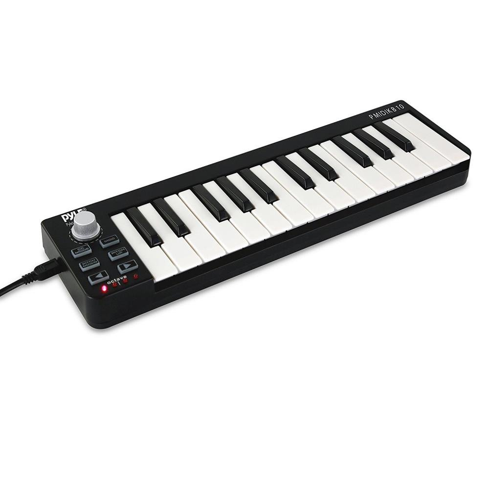 Pyle USB MIDI Keyboard Controller - Upgraded 25 Key Portable Audio Recording Workstation Equipment - Hardware Buttons Control any DAW Software for Computer Music Production - PMIDIKB10_0 by Pyle