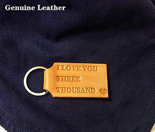 Children Lover Keychain Accessories -I Love You Three Thousand Genuine Leather Lettering Key Chain Gifts for Parent Handbag Chain Handmade Genuine Leather Keychain Key Ring Girlfriend