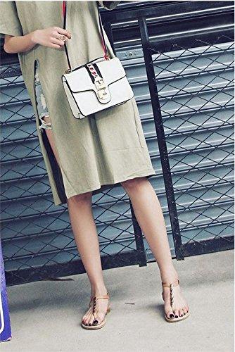 de Coreana de JING Clip de Minimalista Versión apricot Sandalias Plana Zapatos Decorativos Toe Mujer la acogedora metálicos Tierra Sandalias femeninas qSqwTY7