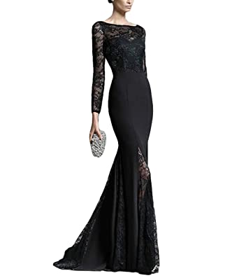 Albert Katis Womens Sexy Illusion Side Slit Long Mermaid Prom Dresses Evening Formal Gowns With Sleeves