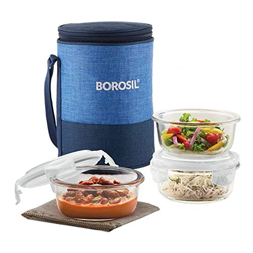 Borosil – ICYS3PRI400 Prime Glass Lunch Box Set of 3, 400 ml, Round, Microwave Safe Office Tiffin Price & Reviews