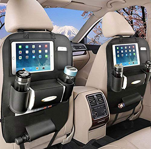 OTCPP Car Backseat Organizer PU Leather Car Seat Back Organizer for Travel with Baby Storage Bags iPad Holder (1 Pack, Black)