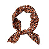 Womens 27.5'' Square Silk Like Neck Scarves Cute Leopard Print Hair Scarf (Brown)