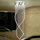 Getop Diameter 23.62 x Height 118 inches Modern Fashion Large Clear Crystal Chandelier For Duplex St