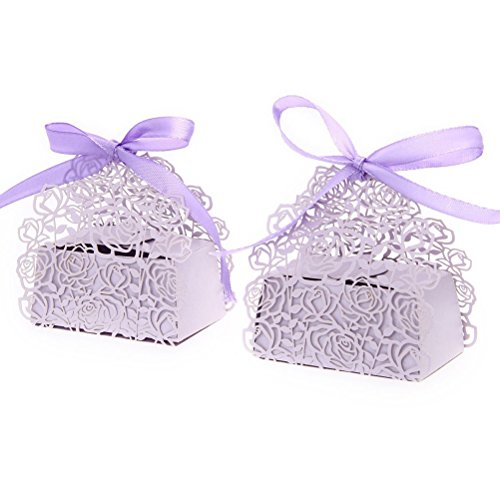 Tinksky 50 Pack Roses Flowers Laser Cut Candy Box with Ribbons Bridal Shower Wedding Party Favors (Purple)
