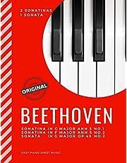 BEETHOVEN - 2 Sonatinas and 1 Sonata * Easy Piano Sheet Music: Sonatina G major Anh.5 No.1 and F Major Anh.5 No.2 * Sonata in G Major Op.49 No.2   Popular, Classical Song for Students, Kids, Adults, Seniors, * Video Tutorial * BIG Notes