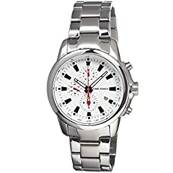 Timeforce Avalanche Mens Watch, White Dial, Stainless Steel Band