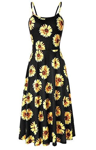 Jaycargogo Dress Beach Swing Midi Strap 3 Spaghetti Women's Summer Floral Printed wFrZwqHRg