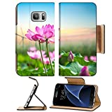 Luxlady Premium Samsung Galaxy S7 Flip Pu Leather Wallet Case IMAGE ID: 33825482 lotus and wind turbine new energy background and beautiful natural landscape
