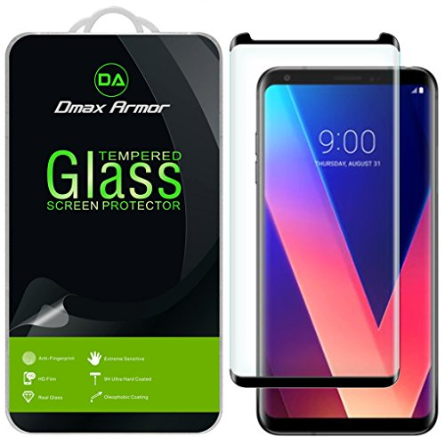 [2-Pack] Dmax Armor for LG V35 ThinQ [Tempered Glass] Screen Protector, (Full Screen Coverage) with Lifetime Replacement (Black)