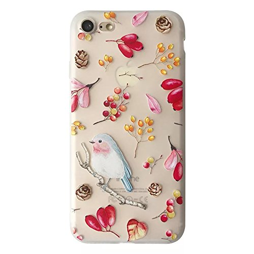 (Blingy's iPhone 8 Case/iPhone 7 Case(4.7inch), New Floral Birds Style Half Transparent Mate Texture Flexible Soft TPU Rubber Case for iPhone 8 and iPhone 7 (New Bird))