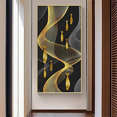 ゴールデンフィッシュウォールアートキャンバス絵画抽象ポスターとプリント壁写真用リビングルーム装飾家の装飾50×100センチなしフレーム