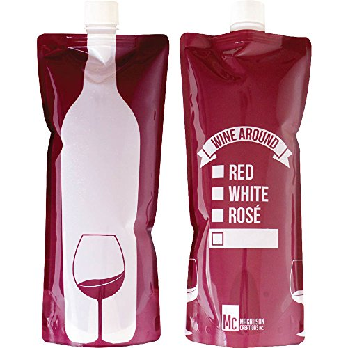 (Wine Around - Foldable To Go Wine Bottle - Bottle of Wine in a Fun, Convenient Pouch - Shatterproof, Flexible and Lightweight - Wine Pouch Container Carries One Full Bottle of Wine (750 ml))