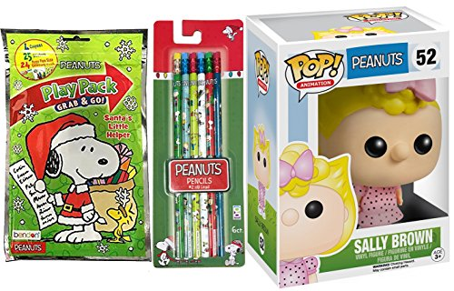 Peanuts Sally Figure & Play Pack + Pencils - Holiday themed coloring book with stickers / Vinyl Pop Funko / #2 6 pack santa's little helper