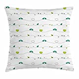 Birds Throw Pillow Cushion Cover by Lunarable, Avian Animal Silhouettes Resting on Curved Wires and Romantic Hearts, Decorative Square Accent Pillow Case, 20 X 20 Inches, Apple Green Pale Sea Green