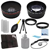 Pro Series 37mm 0.43x Wide Angle Lens + 2.2x Telephoto Lens with an eCostConnection Deluxe Lens Accessories Kit for Sony HXR-MC50, Ultra Compact Pro AVCHD Camcorder, PMW-100 XDCAM HD422 Handheld Camcorder & Ring adapters