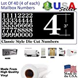 3'' White Color Classic Mailbox Numbers,Lot of 40 (4 of each number form 0 to 9) 3 inch tall, White Vinyl Mailbox Numbers,Doors,Tool Box,Locker,Car,Truck,Address Decal Stickers (Century)