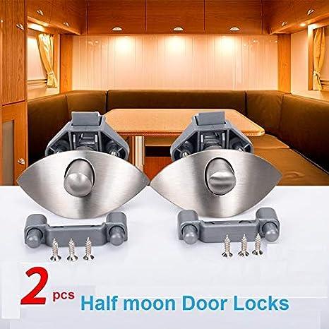 Amazon.com: LuMoosec 2xZinc Alloy Half Moon Handle Push Lock ...