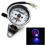 UXOXAS Universal Motorcle Dual Odometer Speedometer Gauge Test Miles Speed meter