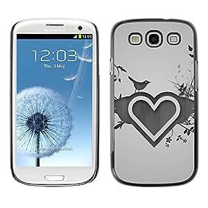 PC/Aluminum Funda Carcasa protectora para Samsung Galaxy S3 I9300 Minimalist Heart & Birds / JUSTGO PHONE PROTECTOR
