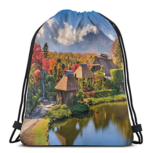 (Unisex Drawstring Bag Gym Bags Storage Backpack,View Of Oshino Historic Thatch Houses With Mountain Fuji On The Background)